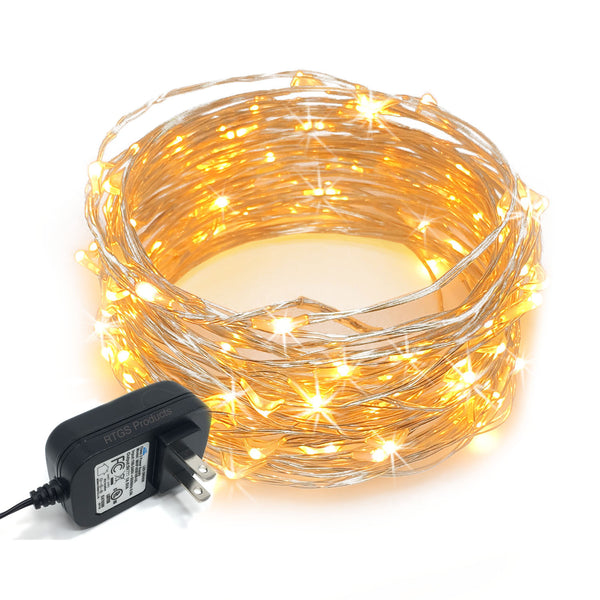 RTGS 100 Warm White Color LED String Lights Plug In on 32 Feet Silver Color Wire for Indoor and Outdoor Use