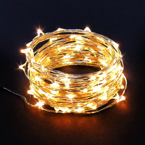 RTGS 100 Warm White Color LED String Lights Plug In on 34 Feet Silver Color Wire with Remote Control, 10 Operating Functions and Speed Control of These Functions for Indoor also Outdoor Use