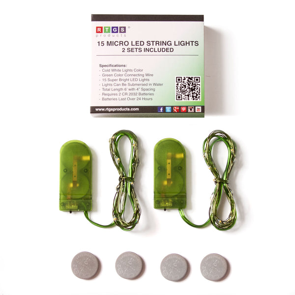 RTGS 2 Sets 15 Cold White Color LED String Lights Batteries Operated on 6 Feet Green Color Wire