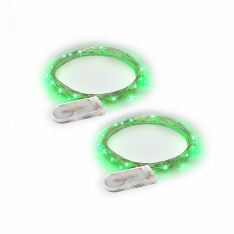 RTGS 2 Sets 15 Green Color LED String Lights Batteries Operated on 6 Feet Silver Color Wire