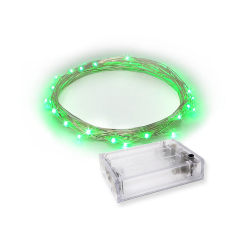 RTGS 30 Green Color LED String Lights Batteries Operated on 9.5 Feet Silver Color Wire with Timer