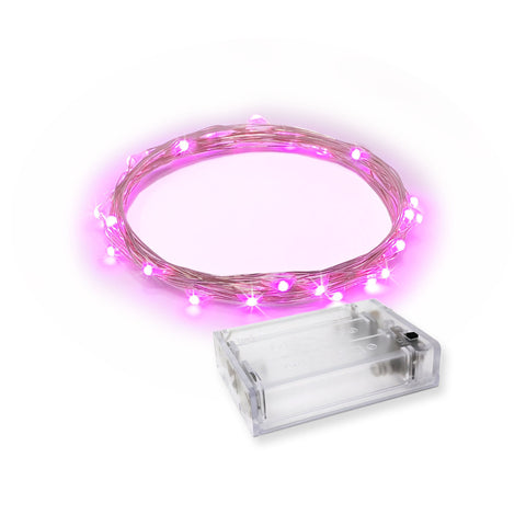 RTGS 30 Pink Color LED String Lights Batteries Operated on 9.5 Feet Silver Color Wire with Timer