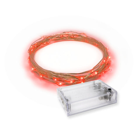 RTGS 20 Red Color LED String Lights Batteries Operated on 7 Feet Silver Color Wire