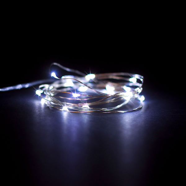 RTGS 30 Cold White Color LED String Lights Batteries Operated on 9.5 Feet Silver Color Wire with Timer