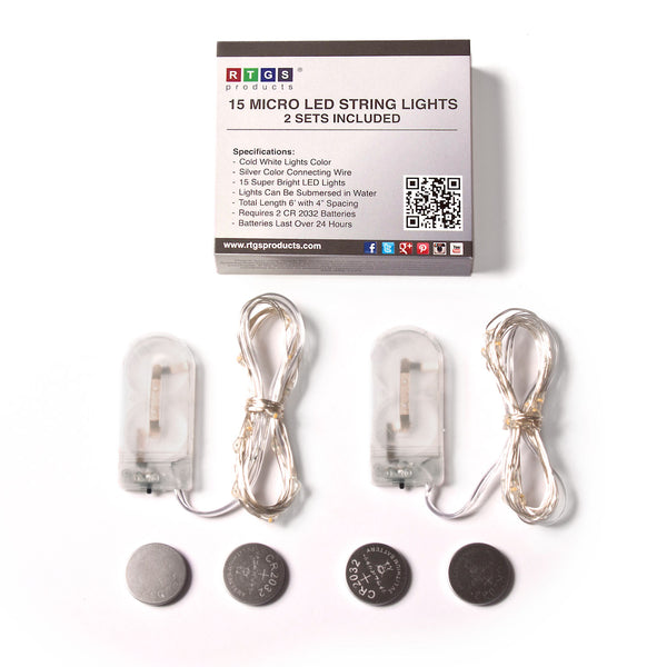 RTGS 2 Sets 15 Cold White Color LED String Lights Batteries Operated on 6 Feet Silver Color Wire