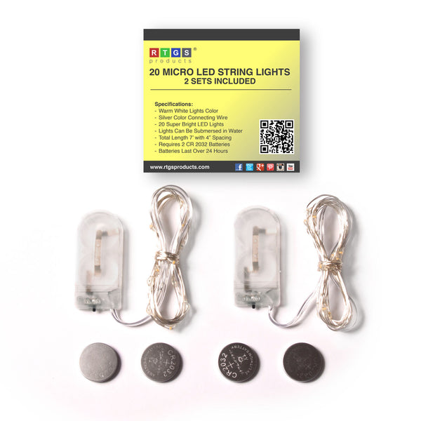 RTGS 2 Sets 20 Warm White Color LED String Lights Batteries Operated on 6.5 Feet Silver Color Wire