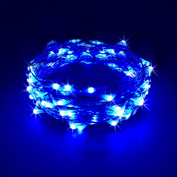 RTGS 30 Blue Color LED String Lights Batteries Operated on 10 Feet Long Silver Color Wire, Indoor and Outdoor with Black Waterproof Batteries Box and Timer