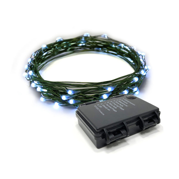RTGS 30 Cold White Color LED String Lights Batteries Operated on 10 Feet Long Green Color Wire with Black Waterproof Batteries Box, Automatic Timer and 8 Functions