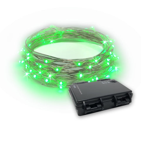 RTGS 30 Green Color LED String Lights Batteries Operated on 10 Feet Long Silver Color Wire, Indoor and Outdoor with Black Waterproof Batteries Box and Timer