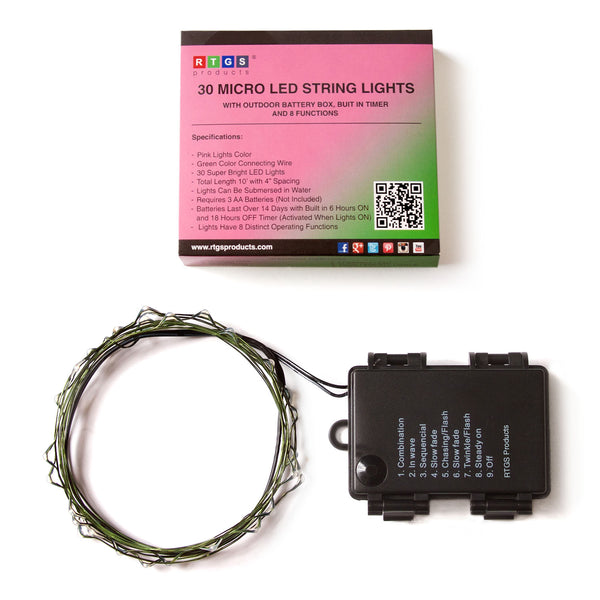 RTGS 30 Pink Color LED String Lights Batteries Operated on 10 Feet Long Green Color Wire with Black Waterproof Batteries Box, Automatic Timer and 8 Functions