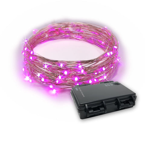 RTGS 30 Pink Color LED String Lights Batteries Operated on 10 Feet Long Silver Color Wire, Indoor and Outdoor with Black Waterproof Batteries Box and Timer