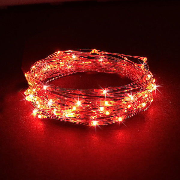 RTGS 30 Red Color LED String Lights Batteries Operated on 10 Feet Long Silver Color Wire, Indoor and Outdoor with Black Waterproof Batteries Box and Timer