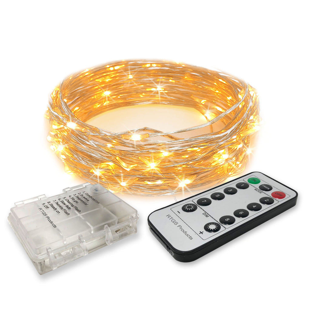 RTGS 30 Warm White Color LED String Lights Batteries Operated on 10 Feet Long Silver Color Wire, Clear Waterproof Batteries Box, Remote Control with Timer, Dimmer and 8 Operating Functions