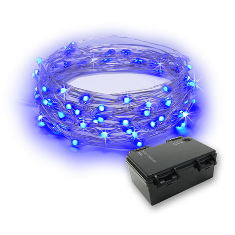 RTGS 60 Blue Color LED String Lights Batteries Operated on 20 Feet Long Silver Color Wire with Black Waterproof Batteries Box and Timer