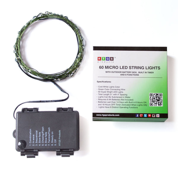 RTGS 60 Cold White Color LED String Lights Batteries Operated on 20 Feet Long Green Color Wire with Black Waterproof Batteries Box, Automatic Timer and 8 Functions