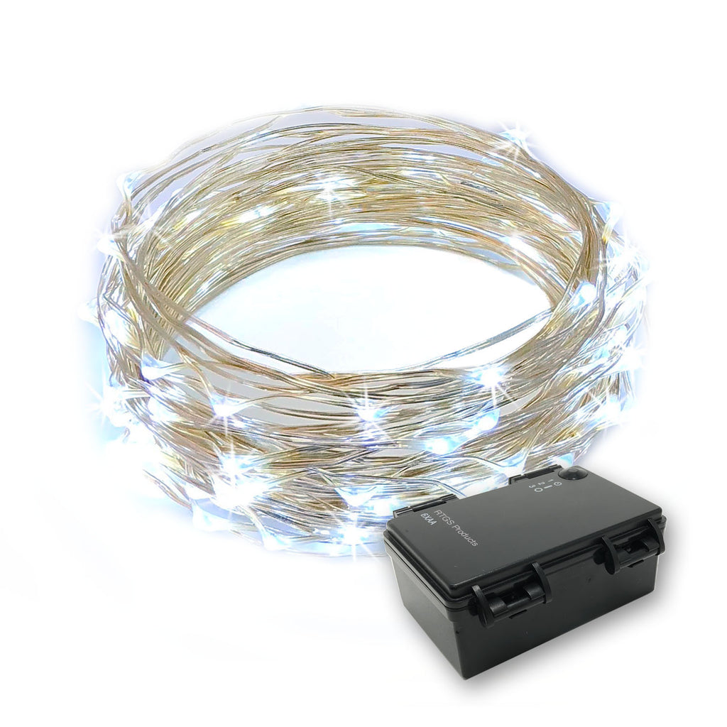 RTGS 60 Cold White Color LED String Lights Batteries Operated on 20 Feet Long Silver Color Wire with Black Waterproof Batteries Box and Timer