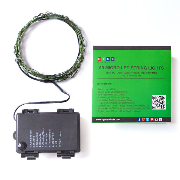 RTGS 60 Green Color LED String Lights Batteries Operated on 20 Feet Long Green Color Wire with Black Waterproof Batteries Box, Automatic Timer and 8 Functions