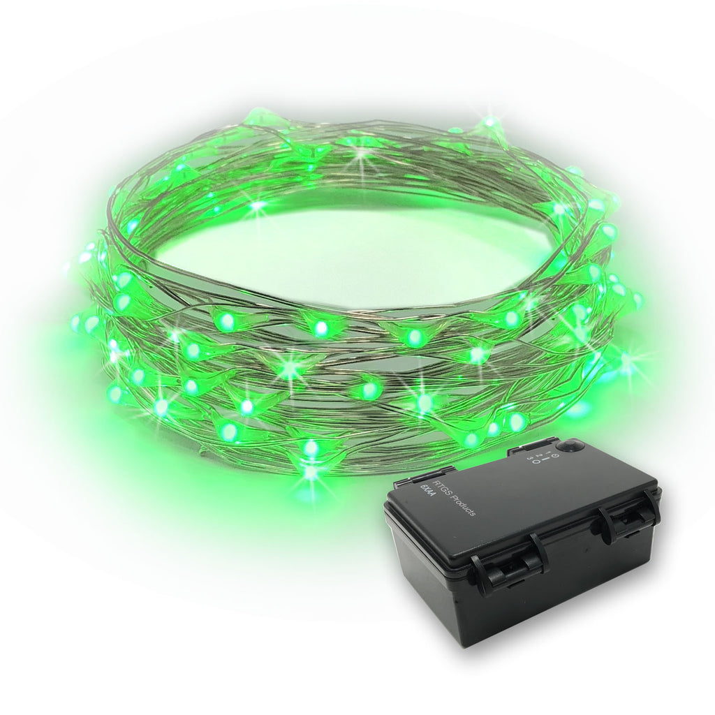 RTGS 60 Green Color LED String Lights Batteries Operated on 20 Feet Long Silver Color Wire with Black Waterproof Batteries Box and Timer