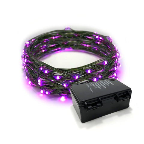 RTGS 60 Pink Color LED String Lights Batteries Operated on 20 Feet Long Green Color Wire with Black Waterproof Batteries Box, Automatic Timer and 8 Functions