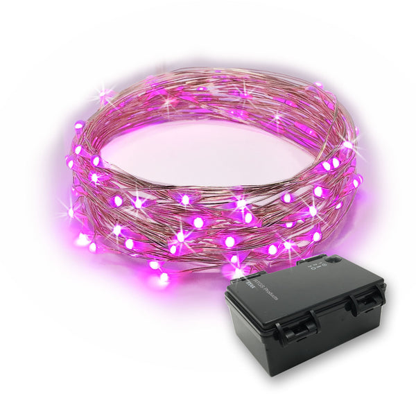 RTGS 60 Pink Color LED String Lights Batteries Operated on 20 Feet Long Silver Color Wire with Black Waterproof Batteries Box and Timer