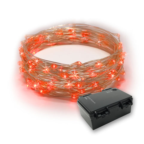 RTGS 60 Red Color LED String Lights Batteries Operated on 20 Feet Long Silver Color Wire with Black Waterproof Batteries Box and Timer