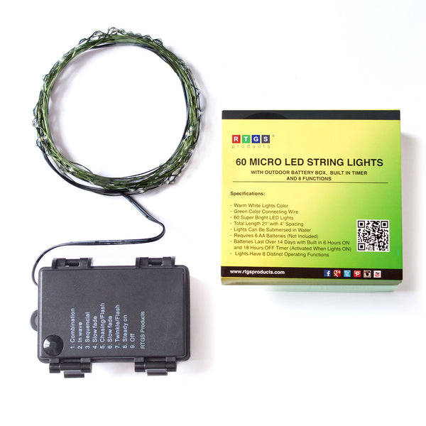 RTGS 60 Warm White Color LED String Lights Batteries Operated on 20 Feet Long Green Color Wire with Black Waterproof Batteries Box, Automatic Timer and 8 Functions