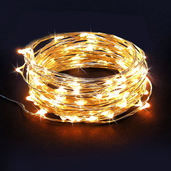 RTGS 60 Warm White Color LED String Lights Batteries Operated on 20 Feet Long Silver Color Wire with Black Waterproof Batteries Box and Timer