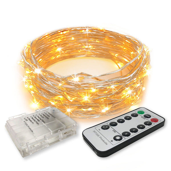RTGS 60 Warm White Color LED String Lights Batteries Operated on 20 Feet Long Silver Color Wire, Clear Waterproof Batteries Box, Remote Control with Timer, Dimmer and 8 Operating Functions