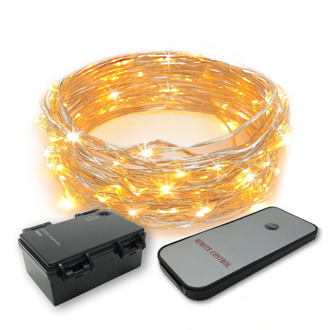 RTGS 60 Warm White Color LED String Lights Batteries Operated on 20 Feet Long Silver Color Wire with Black Waterproof Batteries Box, Timer and Remote Control