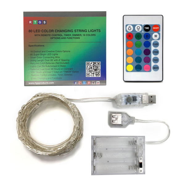 RTGS 80 Multi Color Changing LED String Lights USB Powered on 24 Feet Silver Color Wire with Remote Control, 16 Colors, Timer, 4 Functions and Dimmer