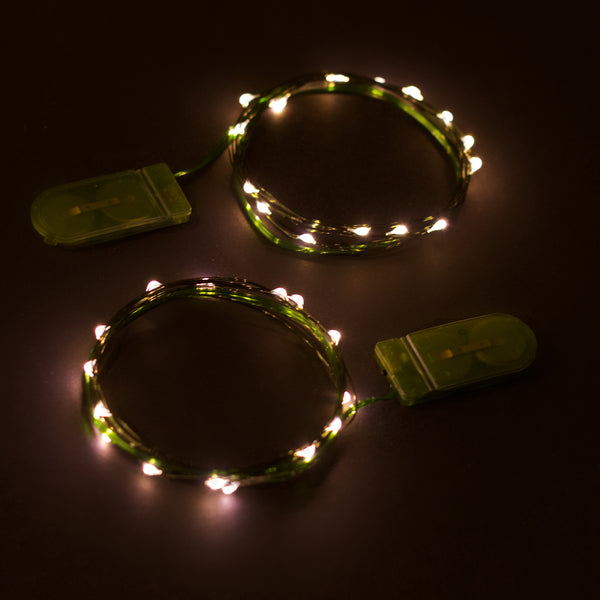 RTGS 2 Sets 15 Warm White Color LED String Lights Batteries Operated on 6 Feet Green Color Wire