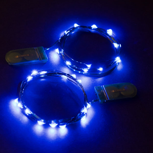 RTGS 2 Sets 15 Blue Color LED String Lights Batteries Operated on 6 Feet Green Color Wire