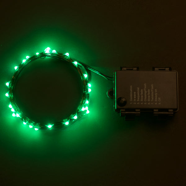 RTGS 30 Green Color LED String Lights Batteries Operated on 10 Feet Long Green Color Wire with Black Waterproof Batteries Box, Automatic Timer and 8 Functions