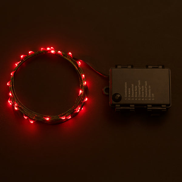 RTGS 30 Red Color LED String Lights Batteries Operated on 10 Feet Long Green Color Wire with Black Waterproof Batteries Box, Automatic Timer and 8 Functions