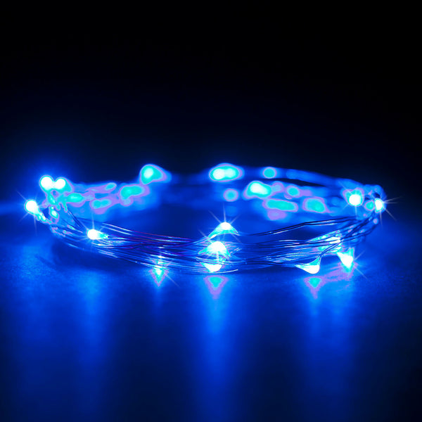 RTGS 20 Blue Color LED String Lights Batteries Operated on 7 Feet Silver Color Wire