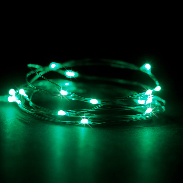 RTGS 20 Green Color LED String Lights Batteries Operated on 7 Feet Silver Color Wire