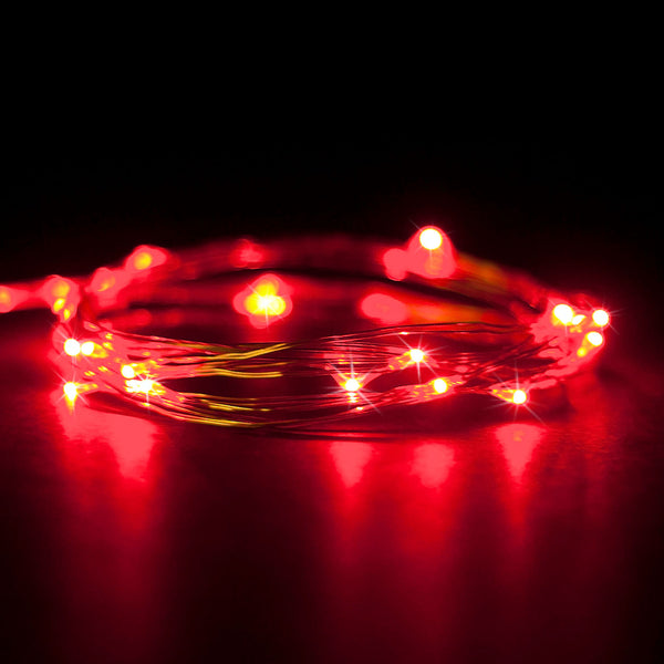 RTGS 2 Sets 20 Red Color LED String Lights Batteries Operated on 6.5 Feet Silver Color Wire