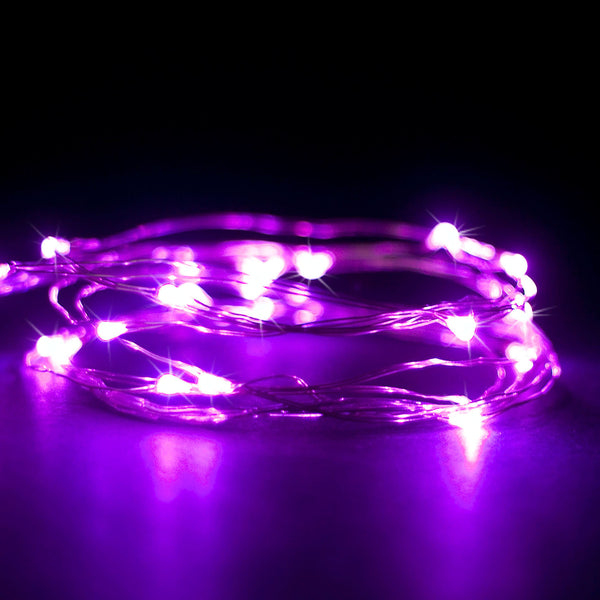 RTGS 2 Sets 15 Pink Color LED String Lights Batteries Operated on 6 Feet Silver Color Wire