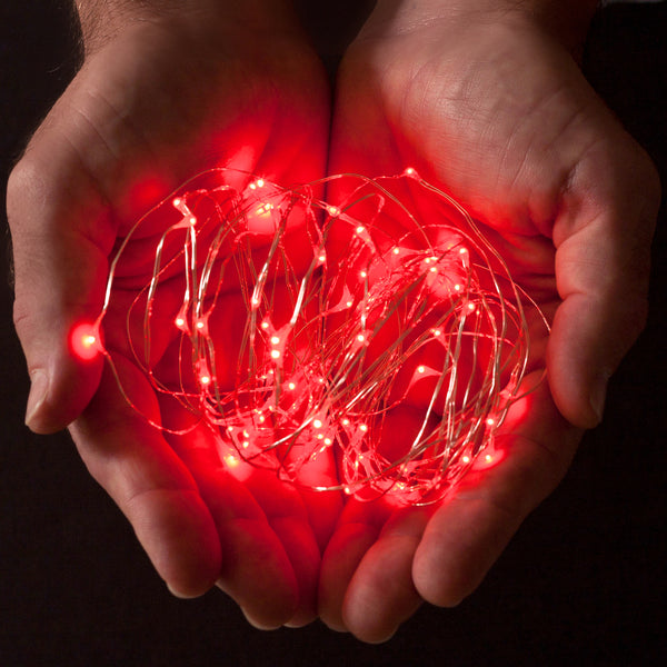 RTGS 2 Sets 15 Red Color LED String Lights Batteries Operated on 6 Feet Silver Color Wire