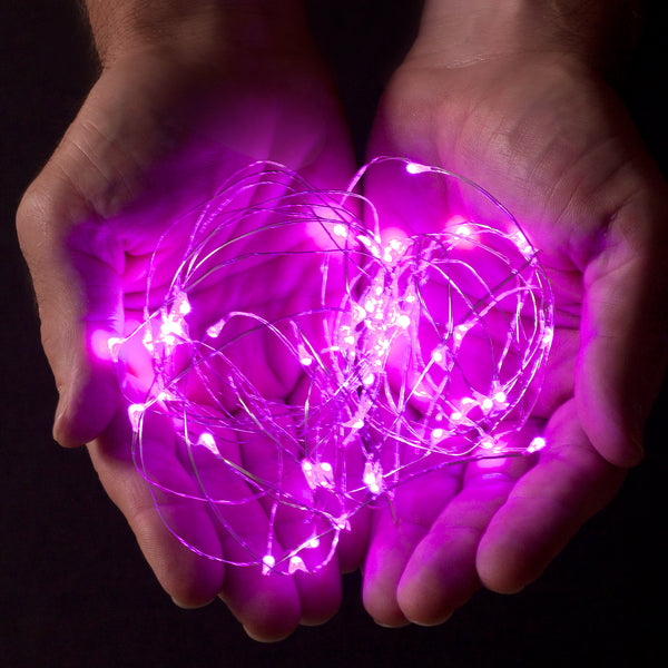 RTGS 2 Sets 20 Pink Color LED String Lights Batteries Operated on 6.5 Feet Silver Color Wire