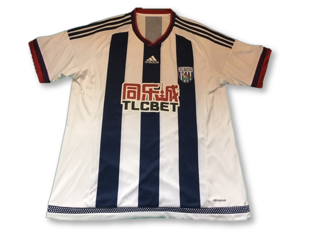 white & navy adidas West Brom 2015-16 Home football Shirt