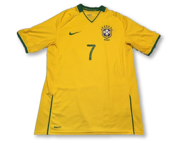 yellow nike Brazil 2008 Home football Shirt