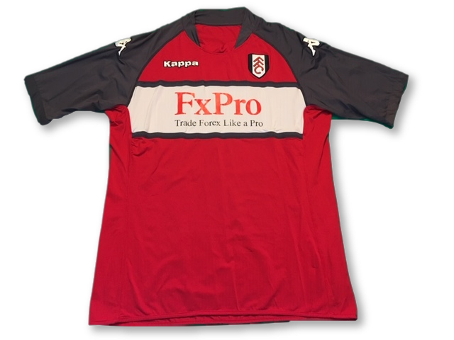 red kappa Fulham 2010-11 Away football Shirt