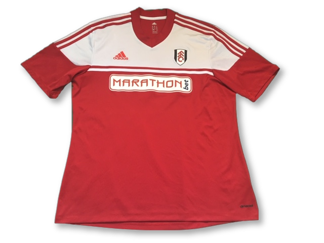 red adidas Fulham 2013-14 Away football Shirt