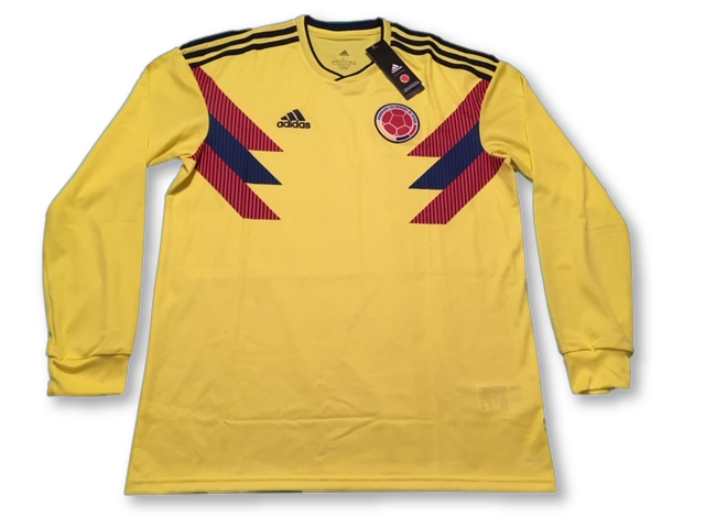 yellow adidas Colombia 2018 (Long Sleeved) Home football Shirt