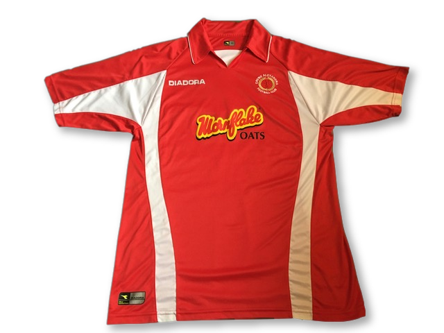 red diadora Crewe Alexandra 2005-06 Home football Shirt