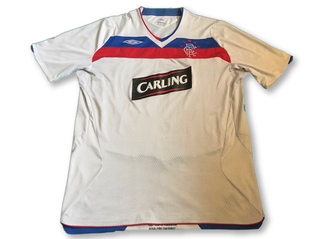 white umbro Rangers 2008-09 Away football Shirt