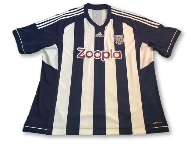 navy & white adidas West Brom 2012-13 Home Football Shirt