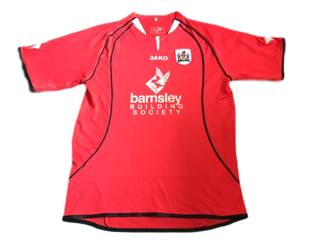 red jako Barnsley 2005-06 Home Football Shirt