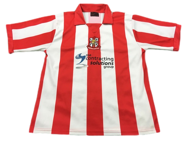 red & white Lincoln City 2004-06 Home Football Shirt